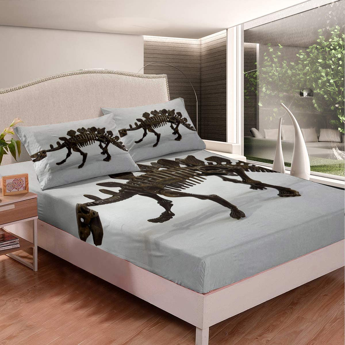 3 Soldering Piece Fitted Sheet Topics on TV Full Bones Dinosaurs Fossils Minimali White