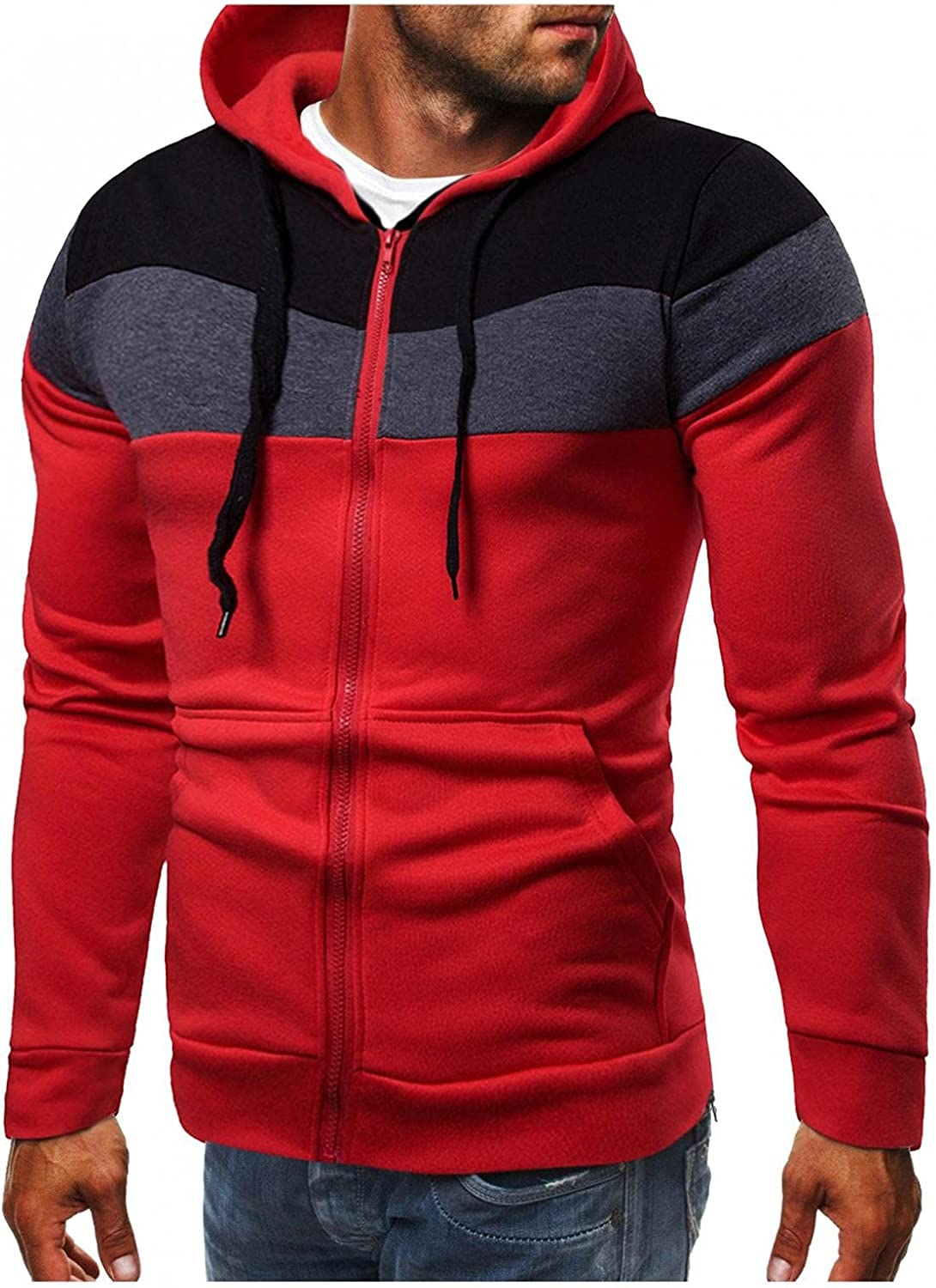 Qsctys Hoodies for Men - 2021 Casual Thick Fleece Lined Full Zip Up Winter Warm Sweatshirts Workout Jackets Heavyweight