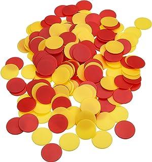 Pangda 200 Stück Farbige Kunststoff Zähler Zählen Chips Bingo Marker mit Aufbewahrungstasche für Mathematik oder Spiele Gelb Rot