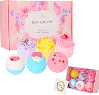 Bath Bombs Gift Set, TTRwin 6 Fizzy Bubble Bath Bath Bombs, Organic Natural Vegan Spa Bath Bomb Kit with Different Organic Essential Oils,Birthday Gift idea For Her, Women, Men,Kids and Teen Girls