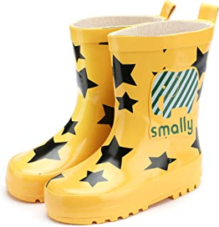 Aiminila Boys Girls Waterproof Animal Star Print Checkered Rubber Rain Boots Outdoor Water Shoes
