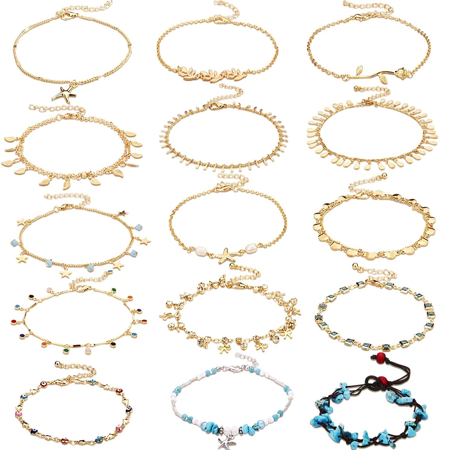 15 Pieces Ankle Chains Bracelets Adjustable Beach Anklet Foot Jewelry Set Anklets for Women Girls Barefoot