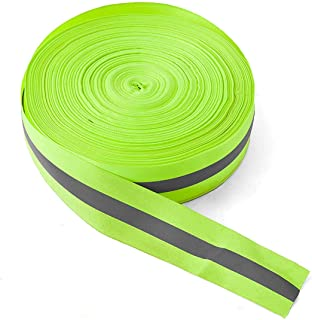 High Visibility Reflective Tape Strip, Fabric Florescent Reflective Safety Tape Sew-on Warning Safety Trim (Green, 0.98in0.39in)