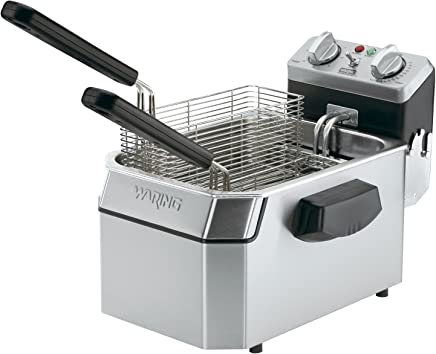 Waring Commercial WDF1550 240-volt Heavy-Duty Single Electric Deep Fryer, 15-
