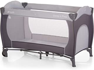 babyreisebett mit matratze höhenverstellbar Hauck Sleep N Play Go Plus Kindereisebett, inkl. Rollen, seitlichem Reißverschluss, Faltmatratze und Tasche, 120 x 60cm, Grau stone