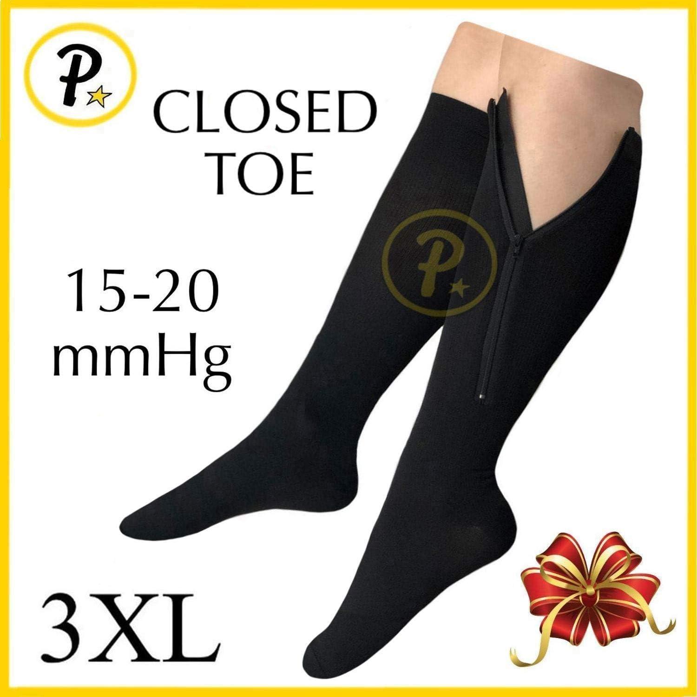 Presadee Closed Toe 15-20 mmHg Zipper Compression Leg Swelling Circulation Fatigue Knee Length Stocking Wide Big Calf Energy Support Socks (Black, 3XL)