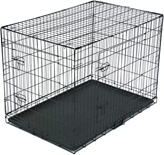 Large Dog Crate Dog Cage Medium Dog Kennel Animal Pet Crate Pet Cage Metal Wire Double Door Folding Fully Equipped Outdoor...