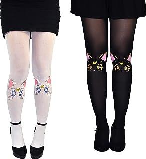 645ad3de9cf Sailor Moon Socks Tights Women   Girls (2 Pair) - Artemis   Luna Hosiery