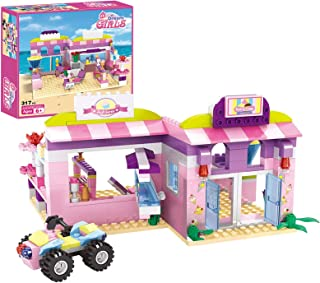 Dream Girls Friends Ice Cream Shop Building Set with 3 Mini People - Pink Seaside Beach Dessert Shop Building Bricks Set f...