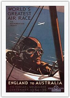 オーストラリアイングランド - マックロバートソントロフィーのための世界最大のエアレース、ビクトリア朝、メルボルンセンテナリー - ビンテージな世界旅行のポスター によって作成...