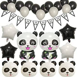 JAYKIDS Panda Party Supplies - Big Panda Mylar Balloons, Black & White Balloons, Five Pointed Star Balloons, Triangle Panda Banner, Panda Cupcake Toppers, Panda Theme Baby Shower Birthday Party Decorations Set for Babies Boys Girls Kids 1st 2nd 3rd 4-8 Years Old and Teens Adults Woman