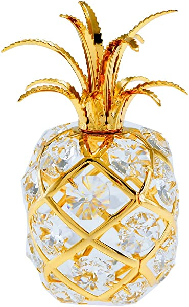 Pineapple 24k Gold Plated Figurine Ornament With Swarovski Crystals