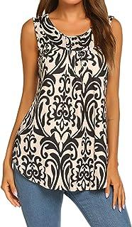 91ba9bfcca327f Halife Women s Paisley Printed Pleated Sleeveless Blouse Shirt Casual Flare  Tunic Tank Top