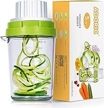 ADORIC Cortador de Verdura 5 en 1 Rallador de Verduras Calabacin Pasta Espiralizador Vegetal Veggetti Slicer Pepino, Espaguetis de Calabacin, Cortador Espiral Manual (Verde)
