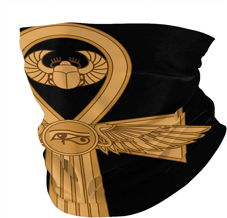 Ancient Egypt Ankh Eye Hieroglyph Neck Gaiter Face Masks Reusable Cloth Face Masks Washable Bandana Face Masks Sun Dust Protection Balaclava Face Cover Scarf Shield For Fishing Cycling