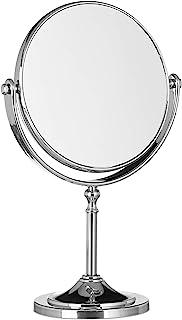 Relaxdays Cosmetische spiegel vergroting, make-up spiegel staand, make-up spiegel rond, tweezijdig HBT: 28x18x10cm, zilver
