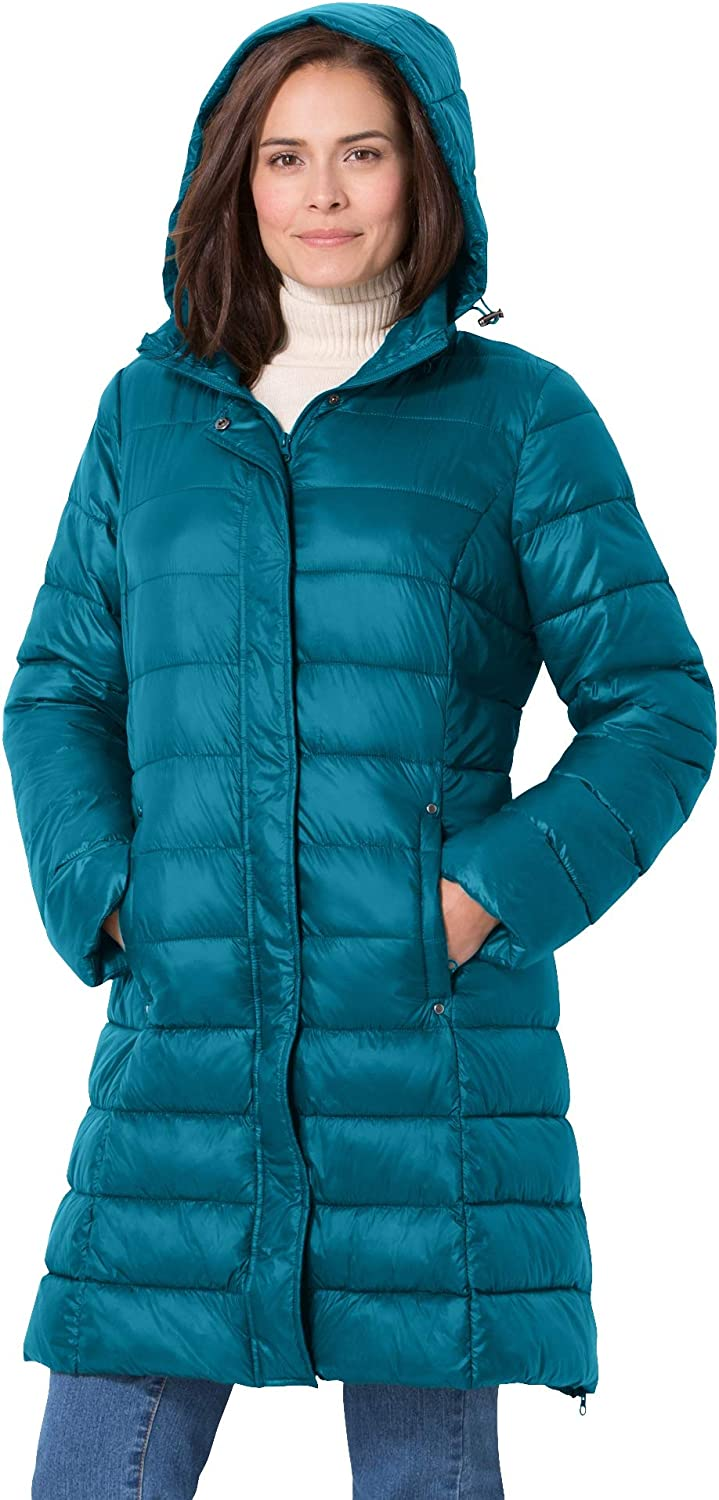 Woman Within Women's Plus Size Long Packable Puffer Jacket