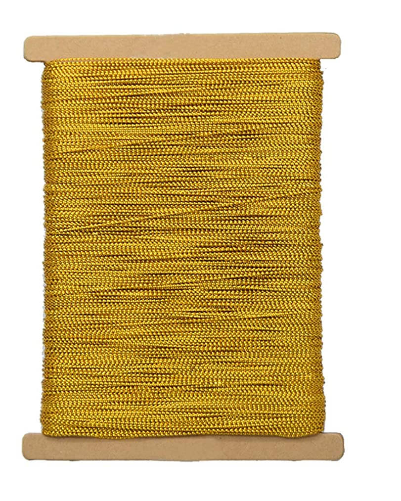 Gold Metallic Cord Craft Thread Braid String for Jewelry Making Gift Wrap, No Stretch, 1mm x 100 Meters/109 Yards
