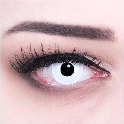 Lentilles couleur blanche - vampire zombi white. Pour Halloween, Fantaisie, Carnaval + étuis à lentilles de contact I...