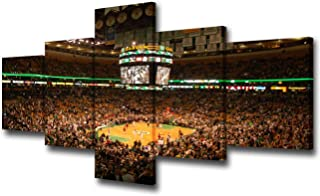 NBA Wall Art for Living Room Boston Celtics Pictures Boston TD Banknorth Garden Arena Paintings 5 Pcs Canvas Artwork Home Decor,Gallery-wrapped Stretched Ready to Hang Posters and Prints - 50''Wx24''H