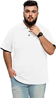 Aiyino Men's Big and Tall Classic Fit Short Sleeve Solid Soft Cotton Polo Shirt