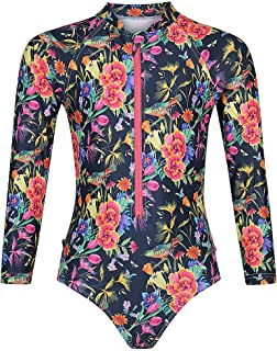 Tame the Sun Long Sleeve Swimsuit for Girls, UPF 50+, Ages 3-12 - Frills, One Piece Rash Guard Girls Bathing Suit Navy