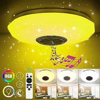 Miouldram Lámpara LED de techo regulable de 36 W, mando a distancia inteligente con Bluetooth 4.0, aplicación de altavoz Bluetooth para smartphone y temperatura de color regulable RGB 30 cm