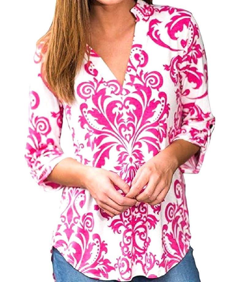 Abetteric Women Digital Print High Low V Neck Fashion Western Shirt