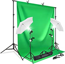 LimoStudio AGG412 Photography Continuous Umbrella Studio Light Lighting Kit with Chromakey Green Screen Photo Background Backdrop Stand Support System