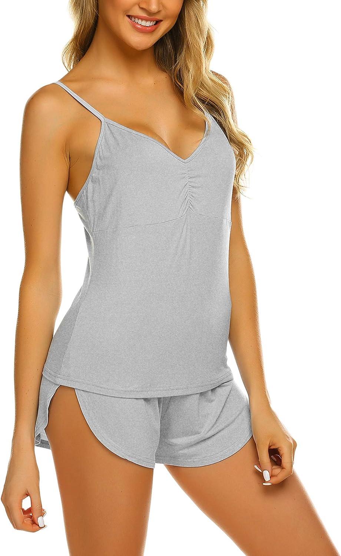 Ekouaer Pajamas Set Womens Sexy Nightwear Lingerie Gown Sleep Cami PJS Set with Short