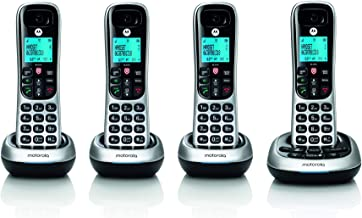 $63 » Motorola CD4014 DECT 6.0 Cordless Phone with Answering Machine and Call Block, Silver/Black, 4 Handsets (Renewed)