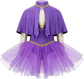 easyforever Kids Girls Halloween Show Cosplay Party Outfit Gold Braided Trimming Tutu Dress with Cloak Arm Sleeve Set
