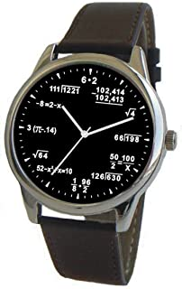 Math Dial Watch Shows Math & Physics Equations on The Large Polished Chrome Watch with Black Leather Band