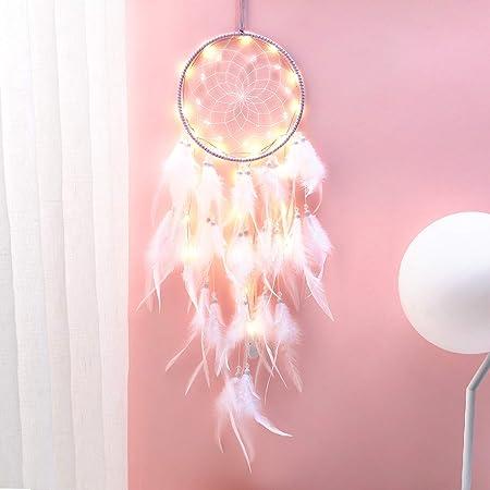 Hongyans Attrape de Rêves LED, Faite Main Capteur de Rêves en Plumes Lumineux Dream Catcher pour Chambre Maison Décoration Tenture Murale Mobile Decoratif Filles Enfants Cadeau