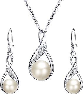EleQueen 925 Sterling Silver CZ Teardrop Leaf Bridal Elegant Pendant Necklace Made with Swarovski Crystals