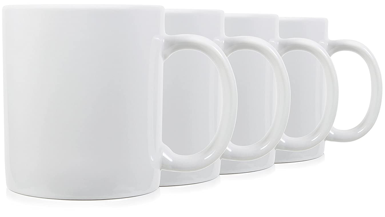 19oz Extra Large Classic Mugs for Coffee or Tea. Large Handle and Ceramic, Set of 4 by Serami