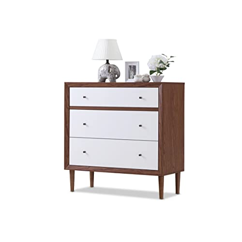 0f89c4d8fe1e9 Baxton Furniture Studios Harlow Mid-Century Wood 3 Drawer Chest