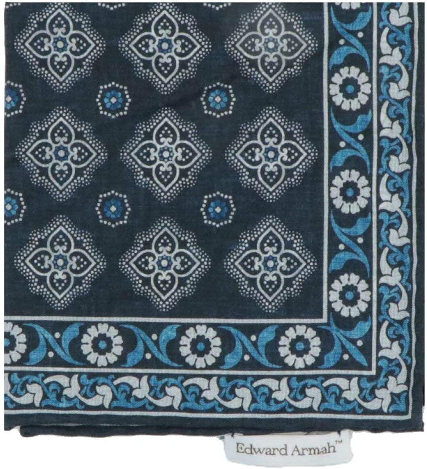 Edward Armah Men's Double Sided Paisley and Floral Medallion Pocket S Square