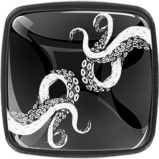 Poulpe tentacule sur fond noir 4 PCS Tiroir de Porte Poignée, Bouton de Meubles, Boutons de Tiroir, Boutons de Porte, Poig...