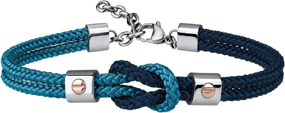 Breil, bracciale per uomo, in acciaio e cordura, con dettagli preziosi in oro 9k, azzurro-blu