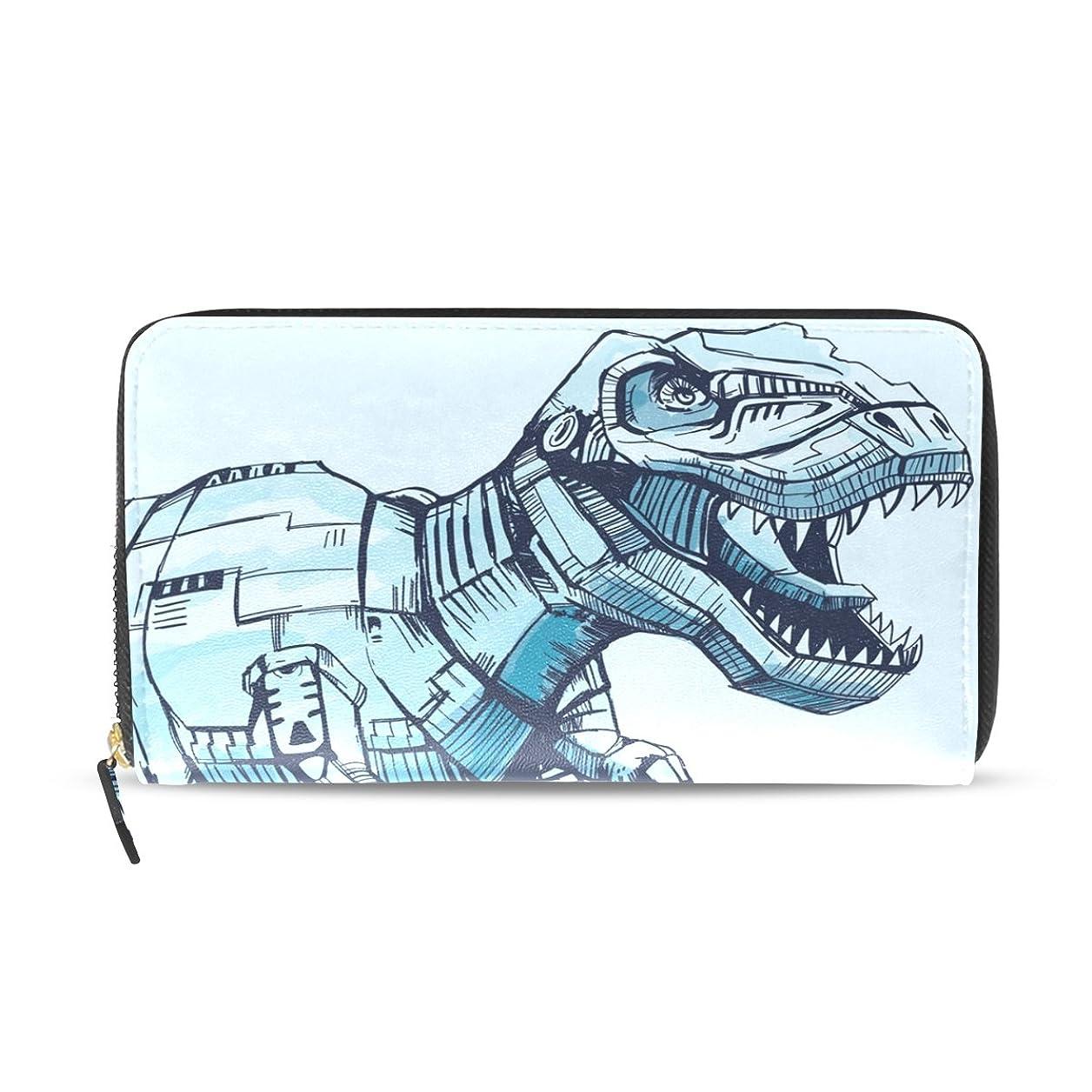 横マナー散文マキク(MAKIKU) 長財布 レディース 大容量 革 レザー ラウンドファスナー おしゃれ カード12枚収納 プレゼント対応 恐竜 かわいい ブルー