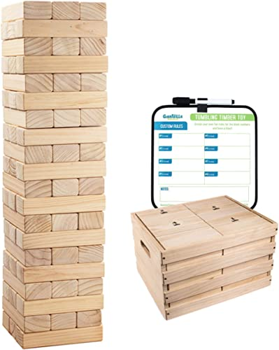 Giant Tumbling Timber Toy - 60 Extra Jumbo Wooden Blocks Floor Game for Kids and Adults, w/ Storage Crate/Game Table-...
