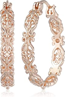 Gold Plated Sterling Silver Filigree Round Hoop Earrings