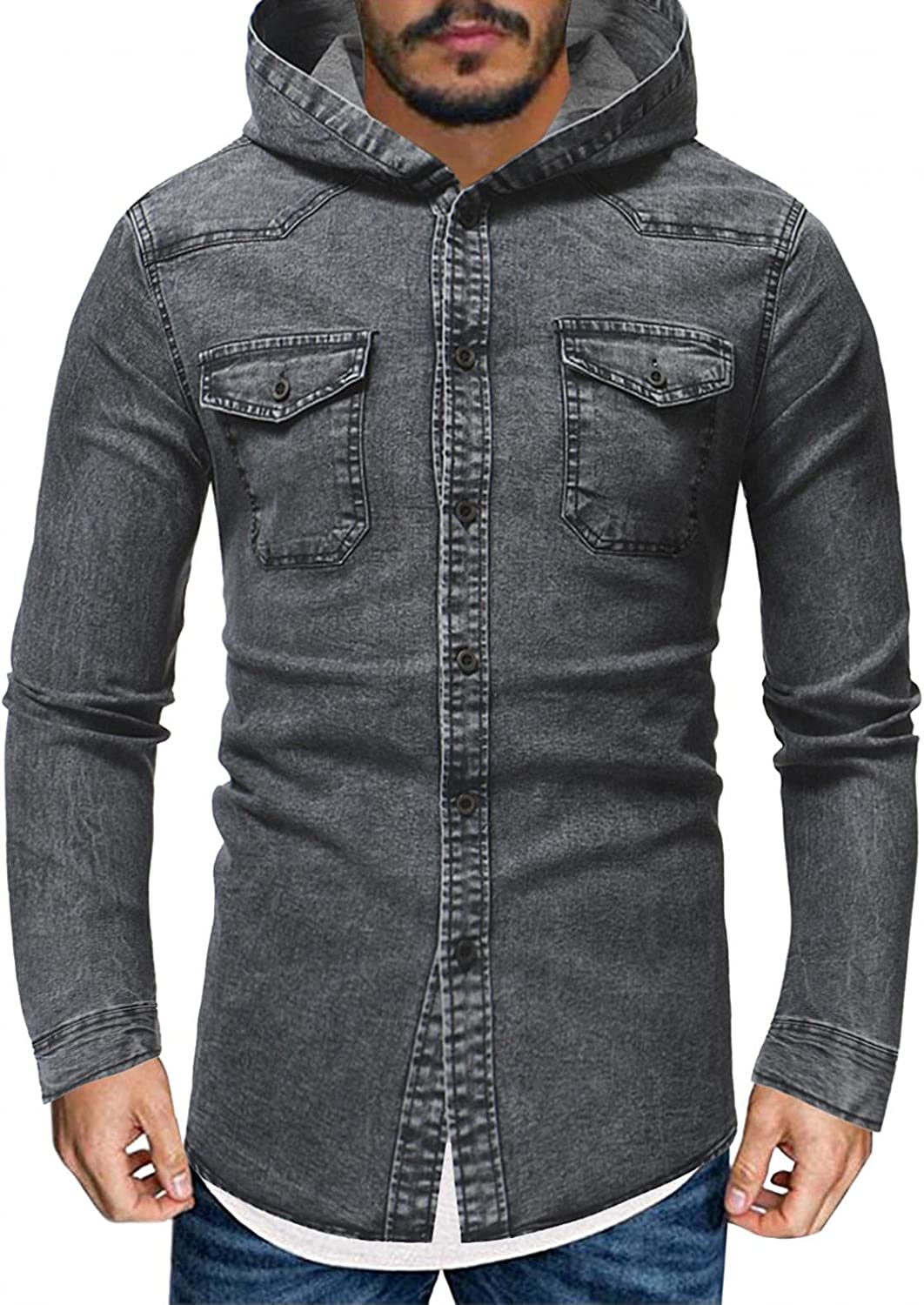 FUNEY Jean Jacket for Mens Fashion Slim-Fit Long Sleeve Hoodies Vintage Washed Denim Button Down Shirts Jackets Outwear