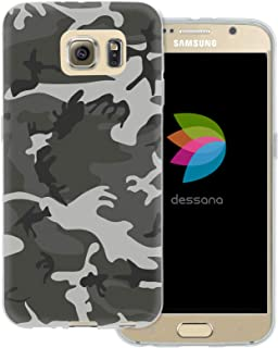 dessana Camouflage Transparent Protective Case Phone Cover for Samsung Galaxy S5 Mini Military Grey