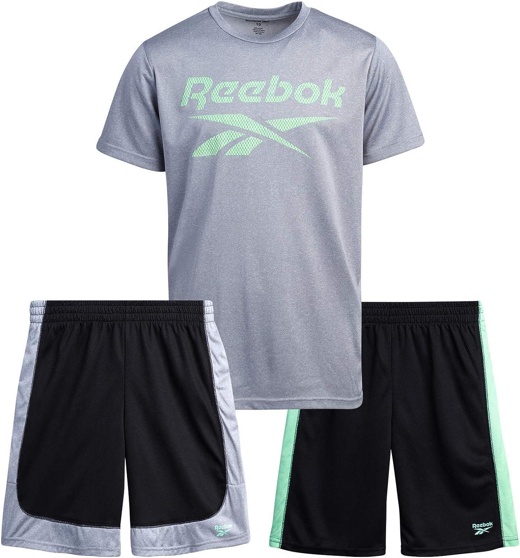 Reebok Boys' Active Shorts Set – 3 Piece Short Sleeve T-Shirt and Athletic Shorts Kids Clothing Set (Little Kid/Big Kid)