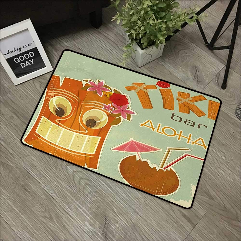 Bathroom Anti-Slip Door mat W35 x L59 INCH Tiki Bar,Invitation to Tiki Bar Old Fashion Display Coconut Drink Mask and Flowers Print,Multicolor Non-Slip, with Non-Slip Backing,Non-Slip Door Mat Carpet