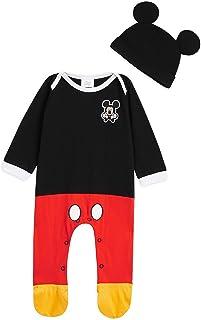 Ropa Bebe Niño, Pijama Bebe de Mickey Mouse, Pijama Bebe Invierno, Body Bebe 100% Algodon, Pijama Entero con Gorro, Regalos para Bebes 0-24 Meses
