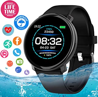 Smart Watch, Fitness Tracker Waterproof with Blood Pressure Heart Rate Monitor, Sport Fitness Watches Bluetooth Smartwatch Activity Tracker Watch with Pedometer Calorie for Women Men Android iOS