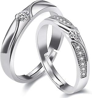 Uloveido 2 قطعة قابل للتعديل له ولها ولها خاتم الخطوبة مجموعة لغز مطابقة القلب الزفاف العصابات الأزواج LB018
